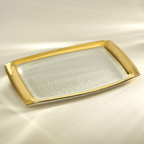 Annieglass Gold Roman Antique Rectangular Tray 11 x 18 Inch