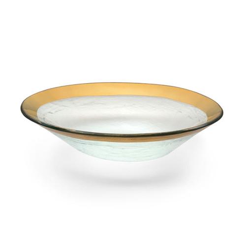 Annieglass Gold Roman Antique Medium Oval Bowl 8 x 10 Inch