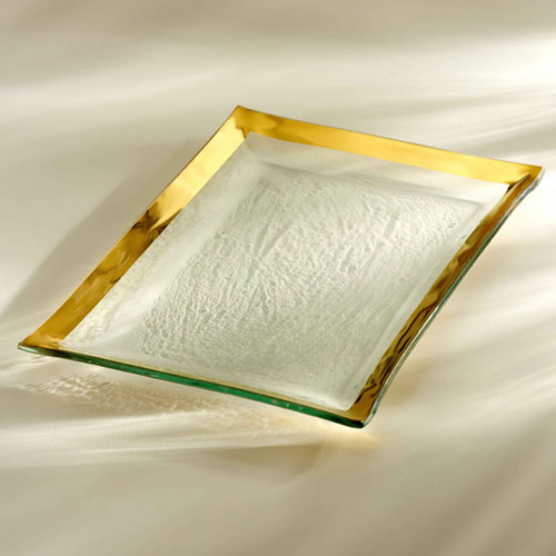 Annieglass Gold Roman Antique Martini Tray 14 1/2 x 10 Inch