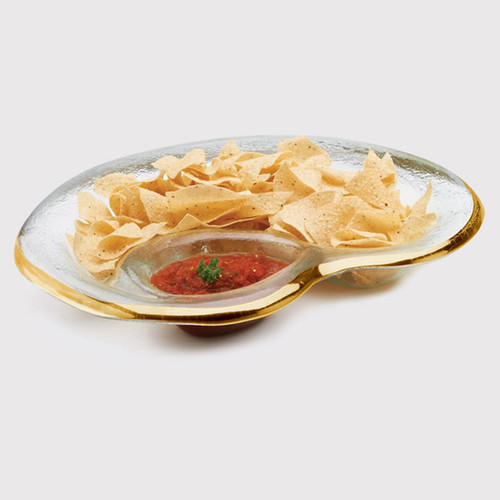 Annieglass Gold Roman Antique Chip & Dip Bowl 17 x 12 1/2 Inch