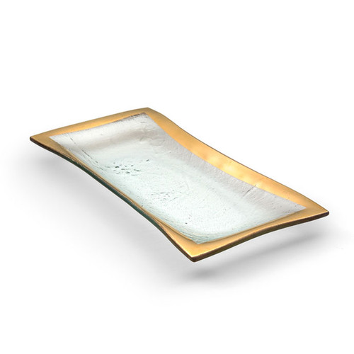 Annieglass Gold Roman Antique Olive Tray 11 x 5 Inch