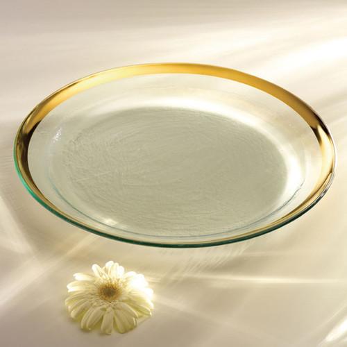 Annieglass Gold Roman Antique Round Pasta Bowl 17 Inch