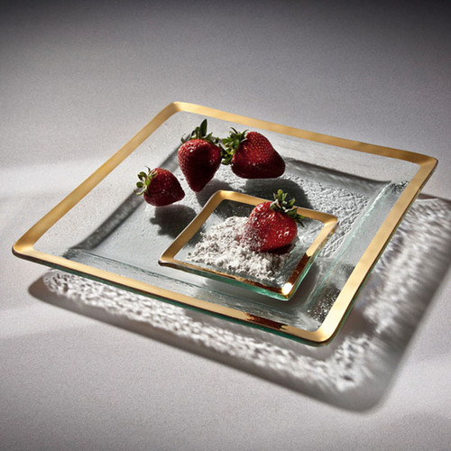 Annieglass Gold Roman Antique Square Serving Tray 11 3/4 Inch