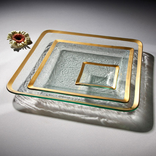 Annieglass Gold Roman Antique Large Square Tray 15 3/4 Inch