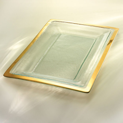 Annieglass Gold Roman Antique Buffet Server 18 3/4 x 12 1/4 Inch