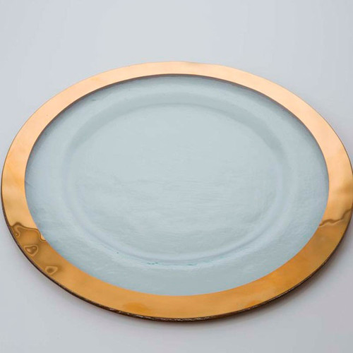 Annieglass Gold Roman Antique Service Plate 13 1/2 Inch