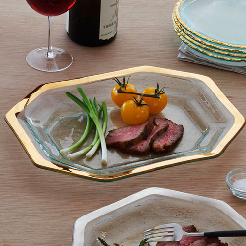 Annieglass Gold Roman Antique Steak Platter 14 x 10 1/2 Inch