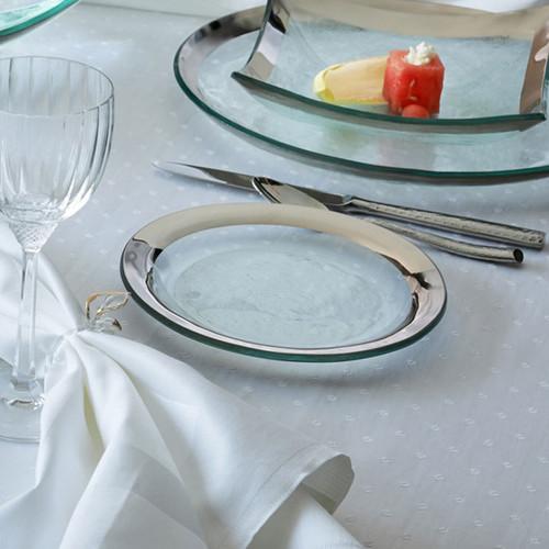 Annieglass Platinum Roman Antique Dessert Plate 7 Inch