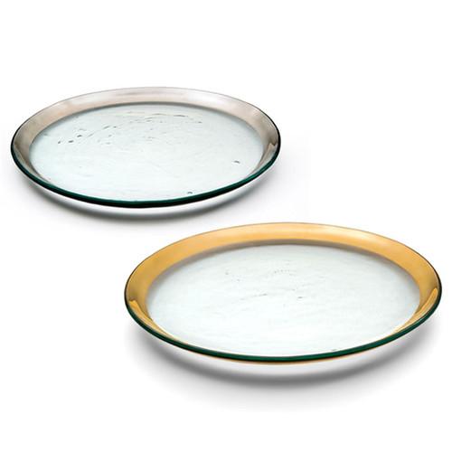 Annieglass Platinum Roman Antique Buffet Plate 12 Inch