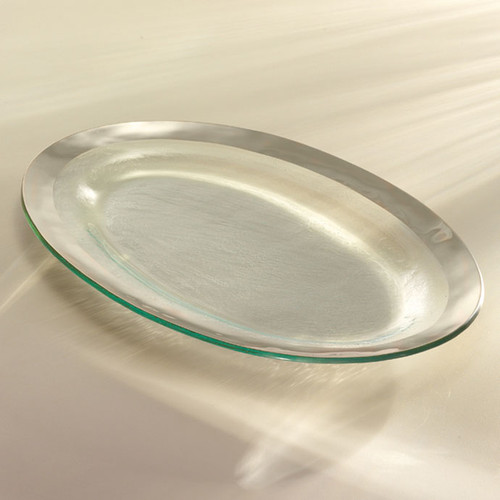 Annieglass Platinum Roman Antique Large Oval Platter 11 x 17 Inch