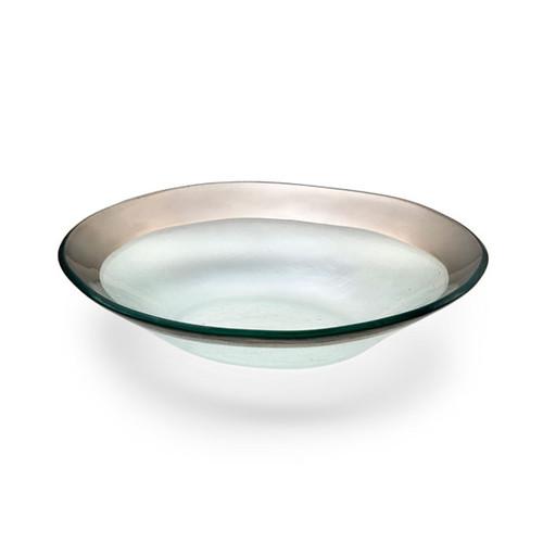 Annieglass Platinum Roman Antique Medium Oval Bowl 8 x 10 Inch