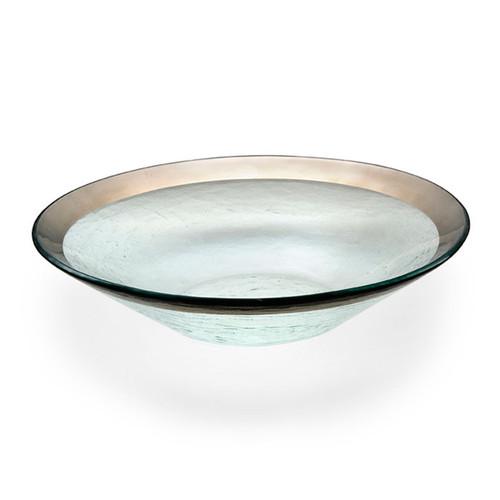 Annieglass Platinum Roman Antique Wok Bowl 13 1/4 Inch