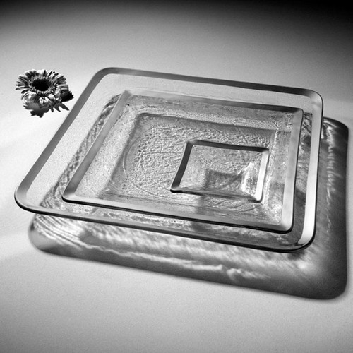 Annieglass Platinum Roman Antique Square Serving Tray 11 3/4 Inch