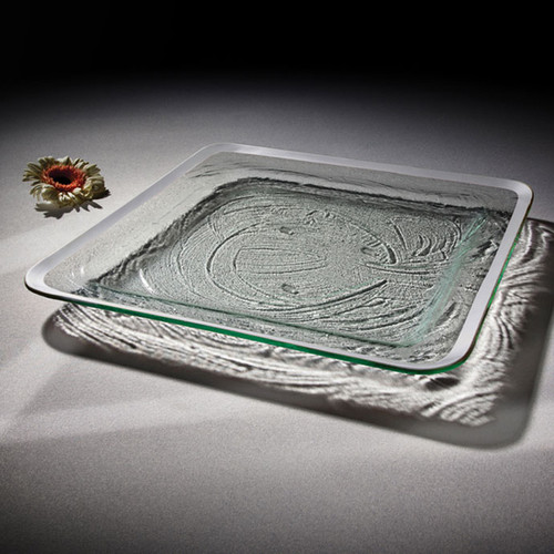 Annieglass Platinum Roman Antique Large Square Tray 15 3/4 Inch