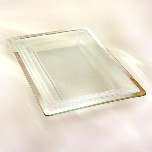 Annieglass Platinum Roman Antique Buffet Server 18 3/4 x 12 1/4 Inch