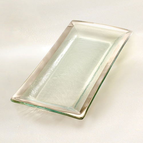 Annieglass Platinum Roman Antique Appetizer Tray 13 1/2 x 6 Inch
