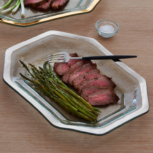 Annieglass Platinum Roman Antique Steak Platter 14 x 10 1/2 Inch