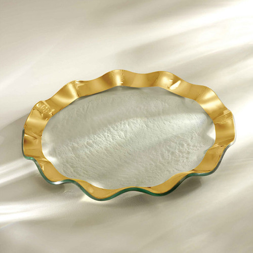 Annieglass Ruffle Gold Dinner Plate 11 Inch