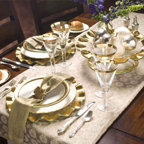 Annieglass Ruffle Gold Buffet Plate 13 Inch