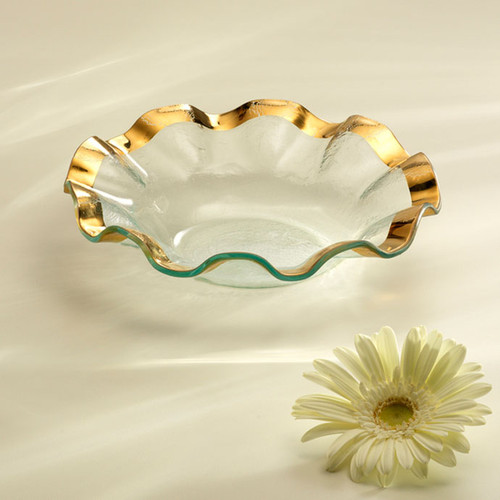 Annieglass Ruffle Gold Soup Bowl 10 Inch