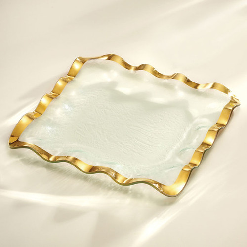 Annieglass Ruffle Gold Square Tray 15 Inch