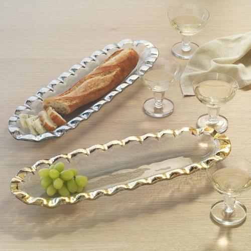 Annieglass Ruffle Gold Baguette Tray 18 x 6 Inch