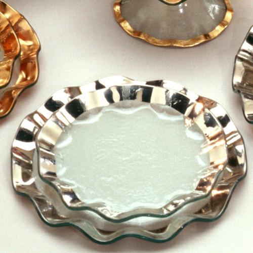 Annieglass Ruffle Platinum Salad Plate 9 1/2 Inch