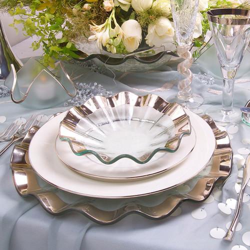 Annieglass Ruffle Platinum Buffet Plate 13 Inch