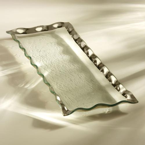 Annieglass Ruffle Platinum Rectangular Tray 17 x 6 3/4 Inch