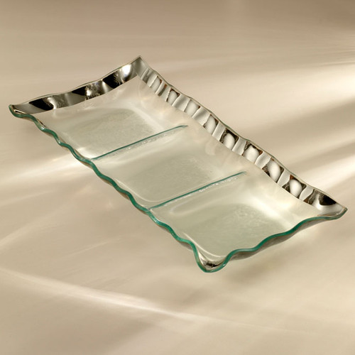 Annieglass Ruffle Platinum Three Section Tray 15 x 6 3/4 Inch