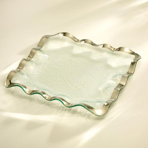 Annieglass Ruffle Platinum Square Tray 15 Inch