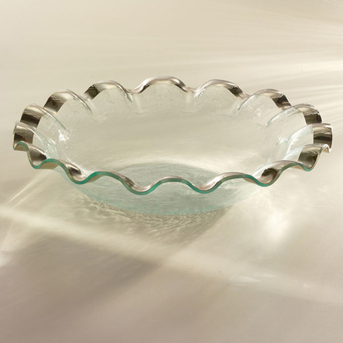 Annieglass Ruffle Platinum Large Salad Bowl 15 Inch