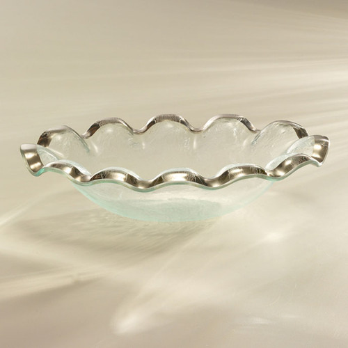 Annieglass Ruffle Platinum Oval Serving Bowl 12 x 8 1/4 Inch