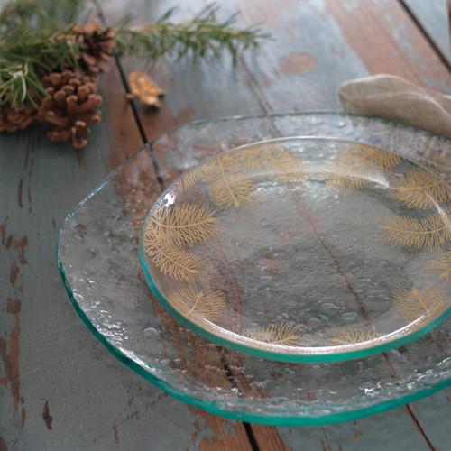 Annieglass Pine Plate/Platter 12 Inch - Satin Gold