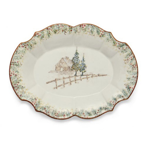 Arte Italica Natale Casa Scalloped Oval Tray NAT6832