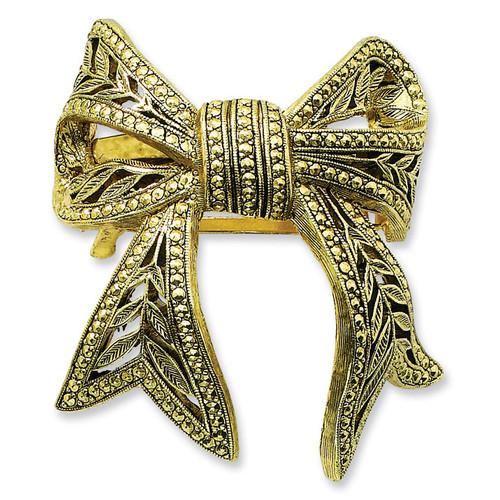 1928 Brass-tone Bow Ponytail Holder Black-tone BF218