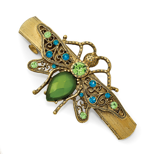 1928 Blue and Green Crystal withAcrylic Green Stone Bee Hair Barrette Gold-tone BF2960