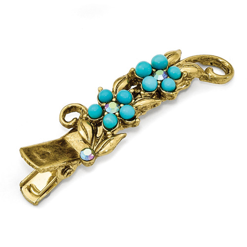 1928 Blue Crystal and Acrylic Turquoise Hair Clip Gold-tone BF2951