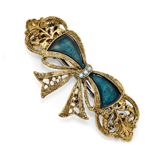 1928 Blue Crystal and Blue Enamel Bow Hair Barrette Gold-tone BF2959