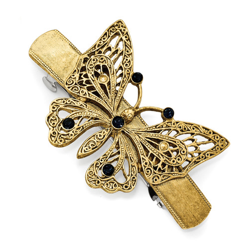 1928 Blue Crystal Butterfly Hair Barrette Gold-tone BF2958
