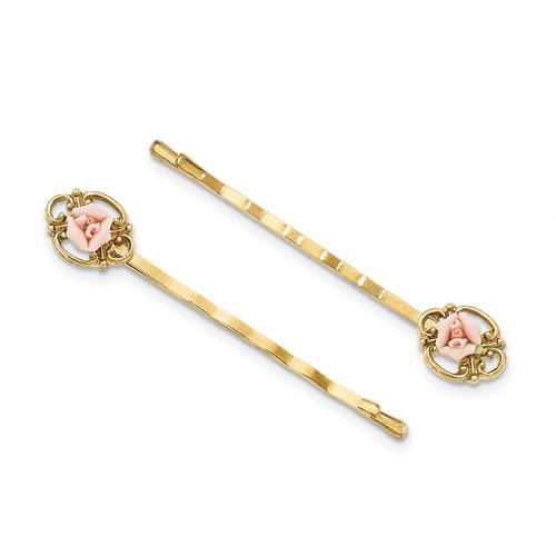 1928 Pink Porcelain Rose Hair Pin Set Gold-tone Downton Abbey BF2866