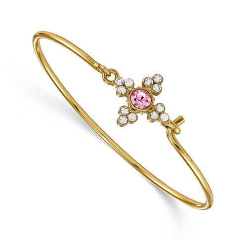 1928 Pink and Clear Crystal 7 Inch Bracelet Gold-tone BF2948