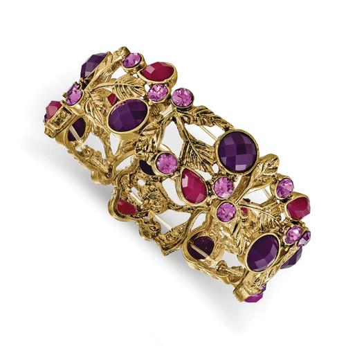 1928 Pink and Purple Epoxy and Glass Stone Stretch Bracelet Gold-tone BF2942