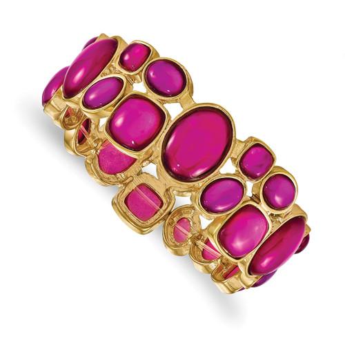 1928 Pink Epoxy Stone Stretch Bracelet Gold-tone BF2950