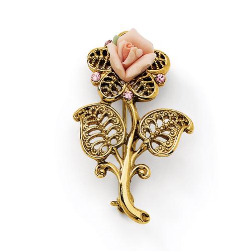 1928 Pink Porcelain Rose Pink Crystal Pin Brooch Gold-tone BF175