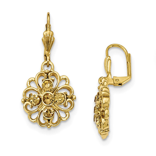 1928 Yellow Crystal Dangle Leverback Earrings Gold-tone BF2935
