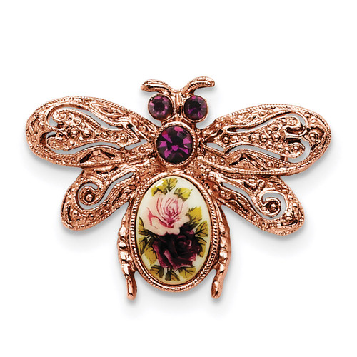 1928 Purple Crystal and Rose Floral Decal Bee Pin Rose-tone BF187
