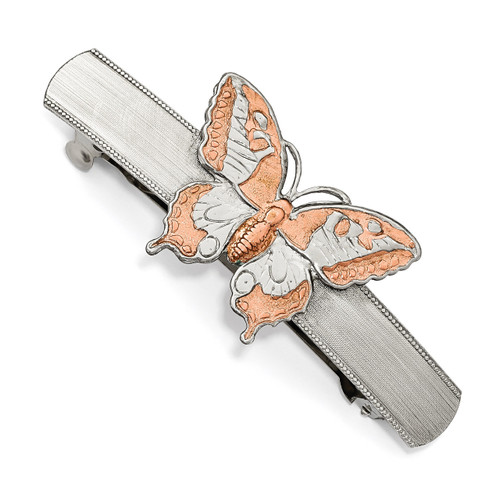 1928 Copper-tone Butterfly Hair Barrette Silver-tone BF2973