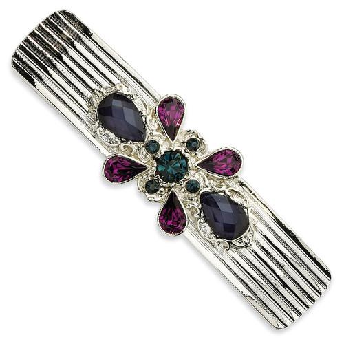 1928 Blue and Dark Purple Crystal Barrette Silver-tone BF475