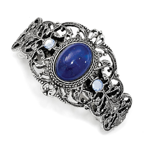 1928 Blue Acrylic and Blue Crystal Ponytail Holder Silver-tone BF3005